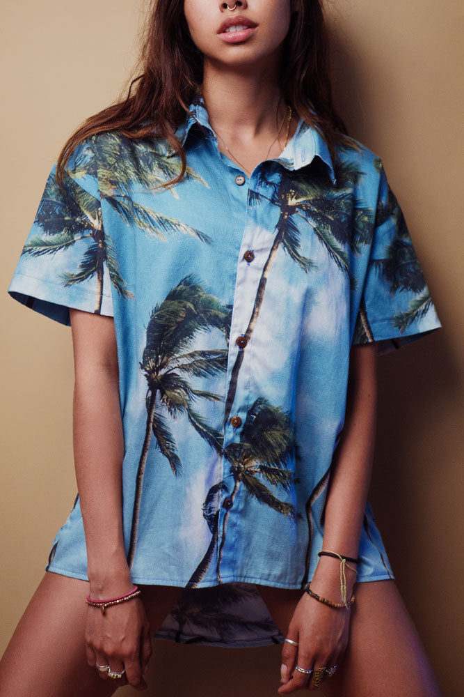 'NORTHSHORE' FRENCH TWILL UNISEX ALOHA SHIRT