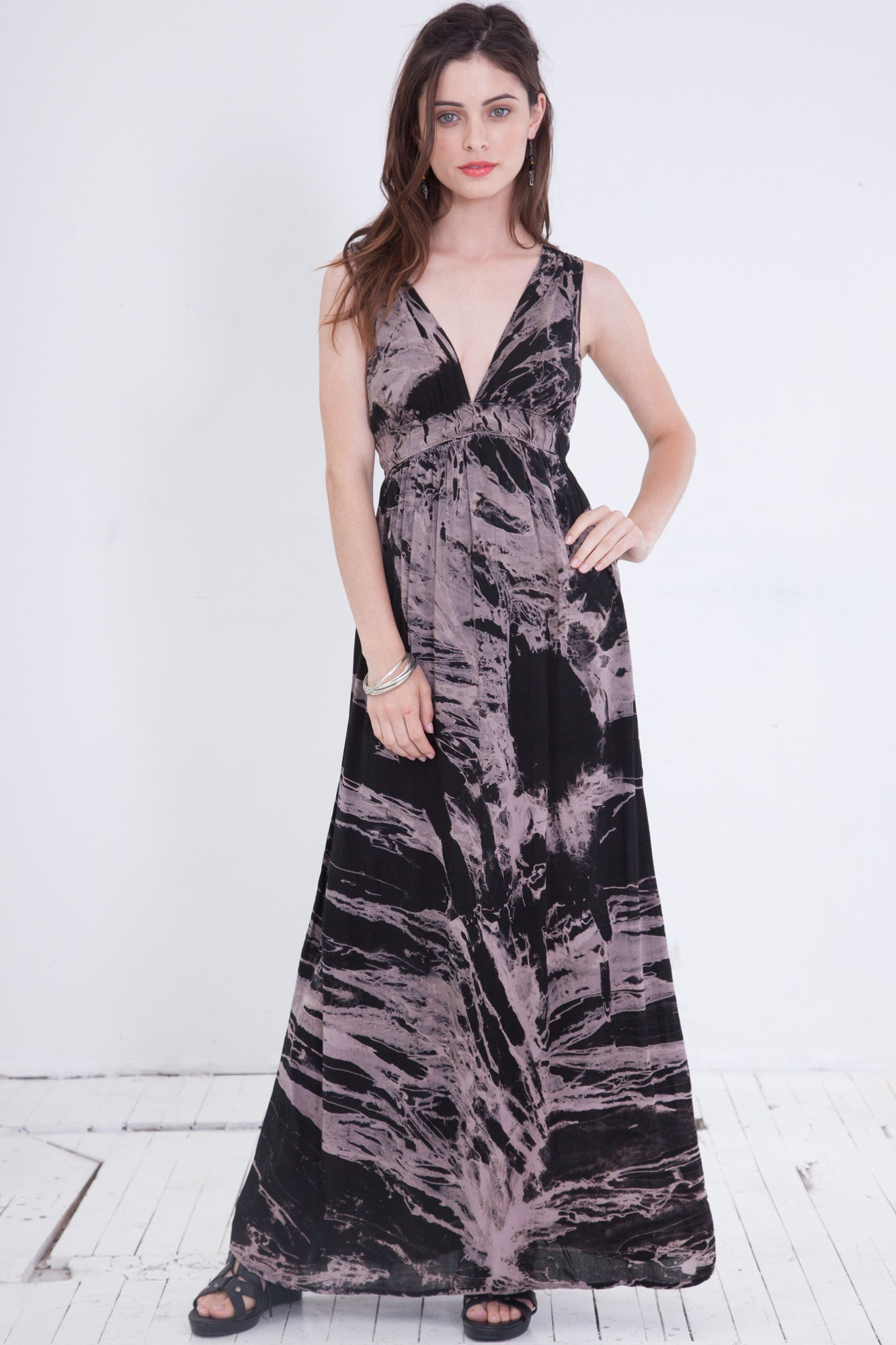 Black and White Tie Dye Maxi Dress