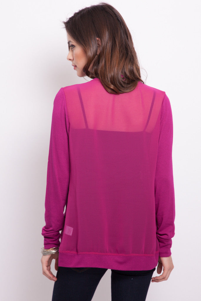 Pocket Cardigan with Chiffon Back in Magenta