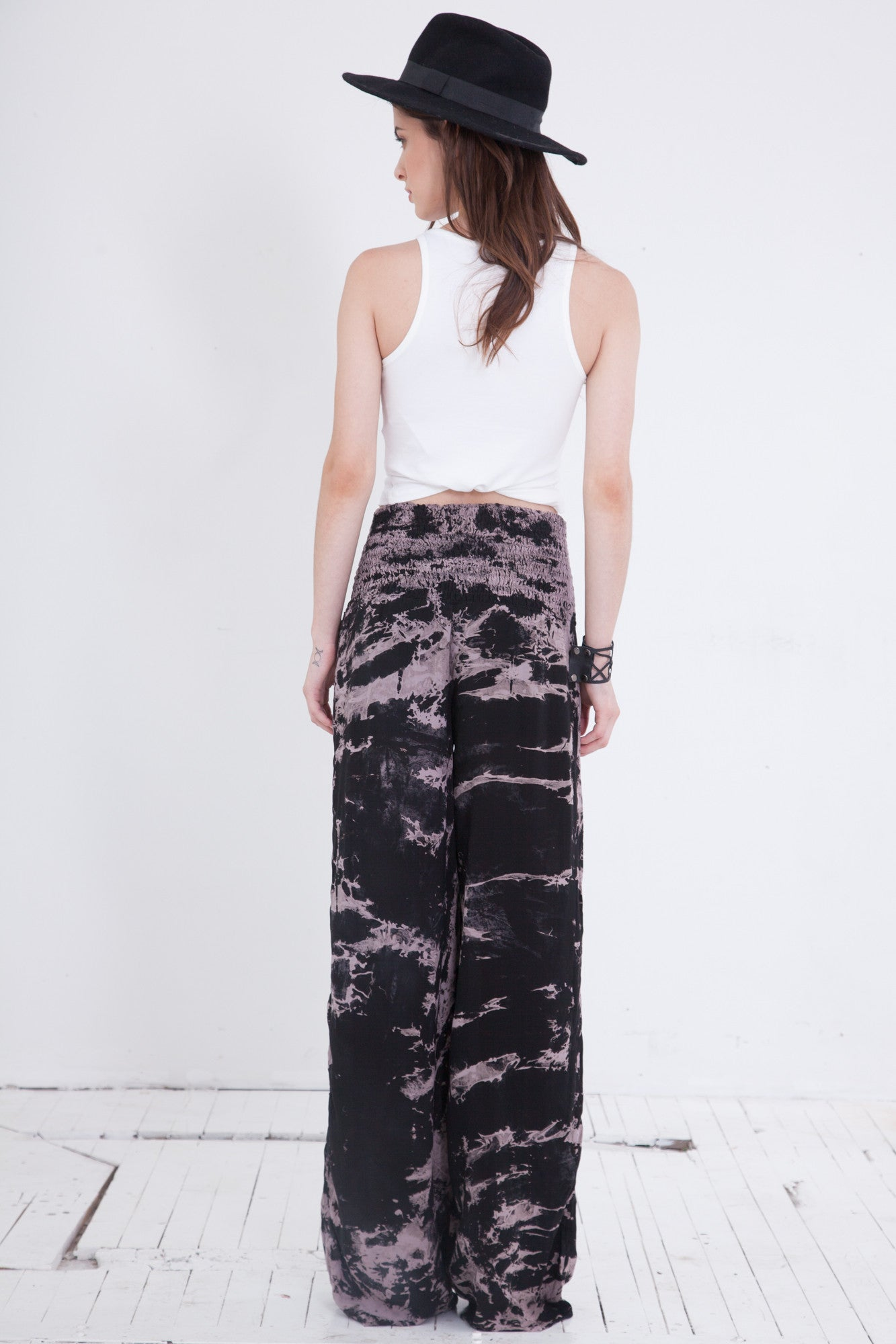 Black and White Tie Dye Palazzo Pants