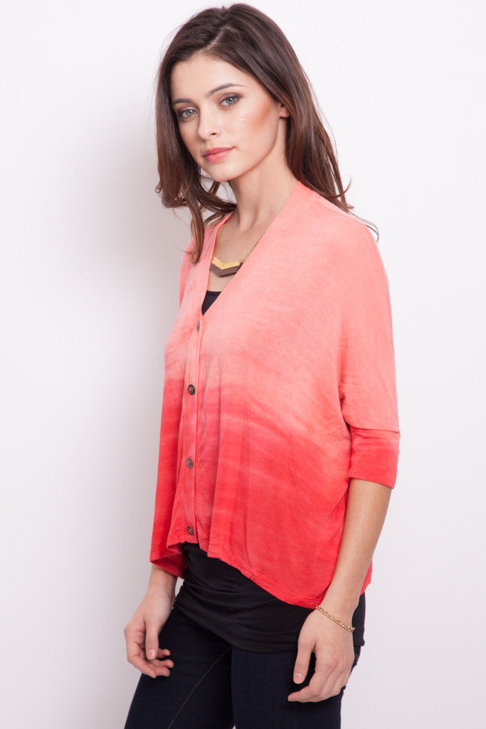 Coral Fire Ombre bamboo Box Cardigan