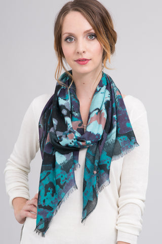 Hand Dyed Silk Blend Scarf in Black Ombre