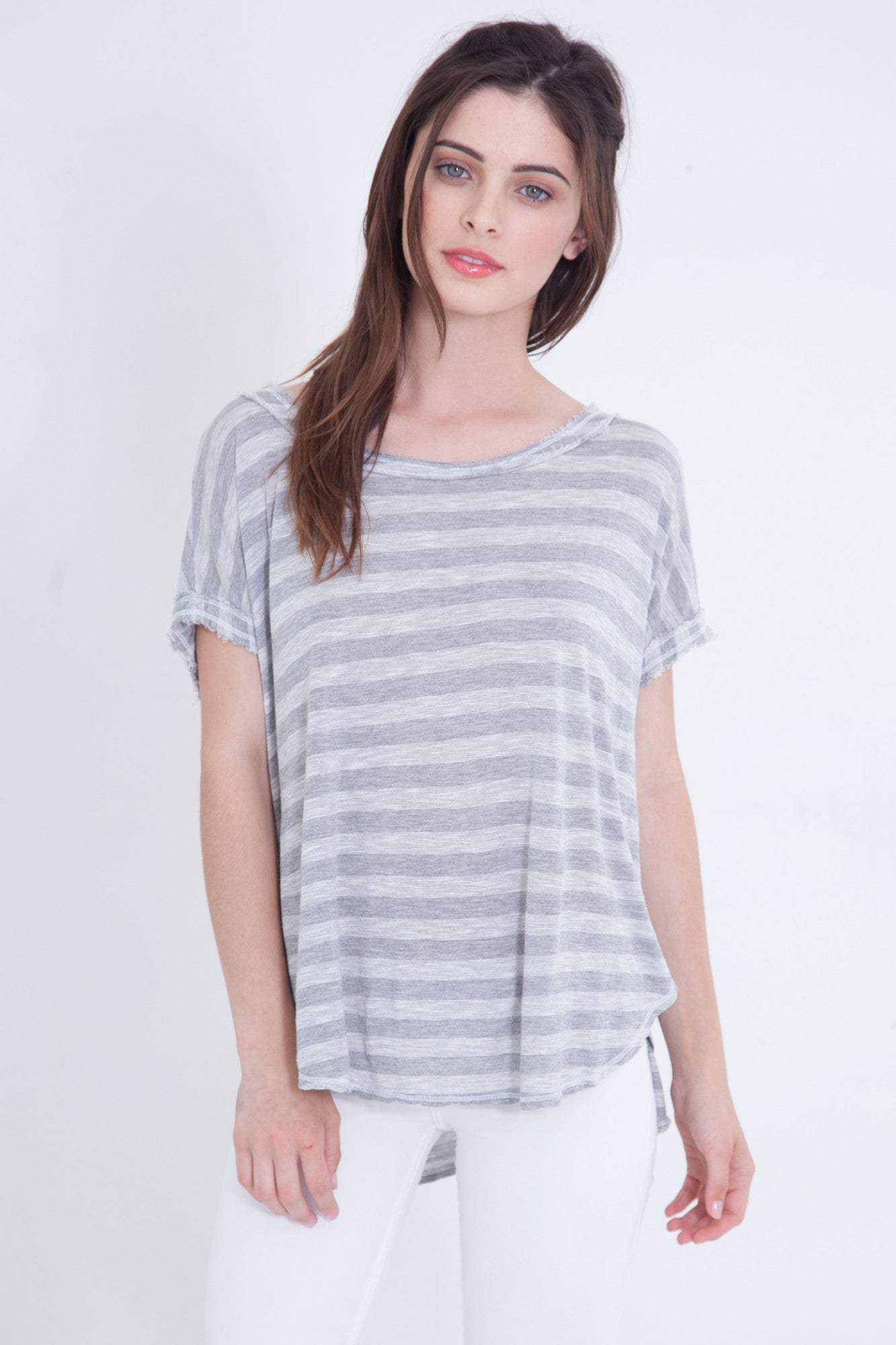 Heather Gray Slub Stripe Loose Tee