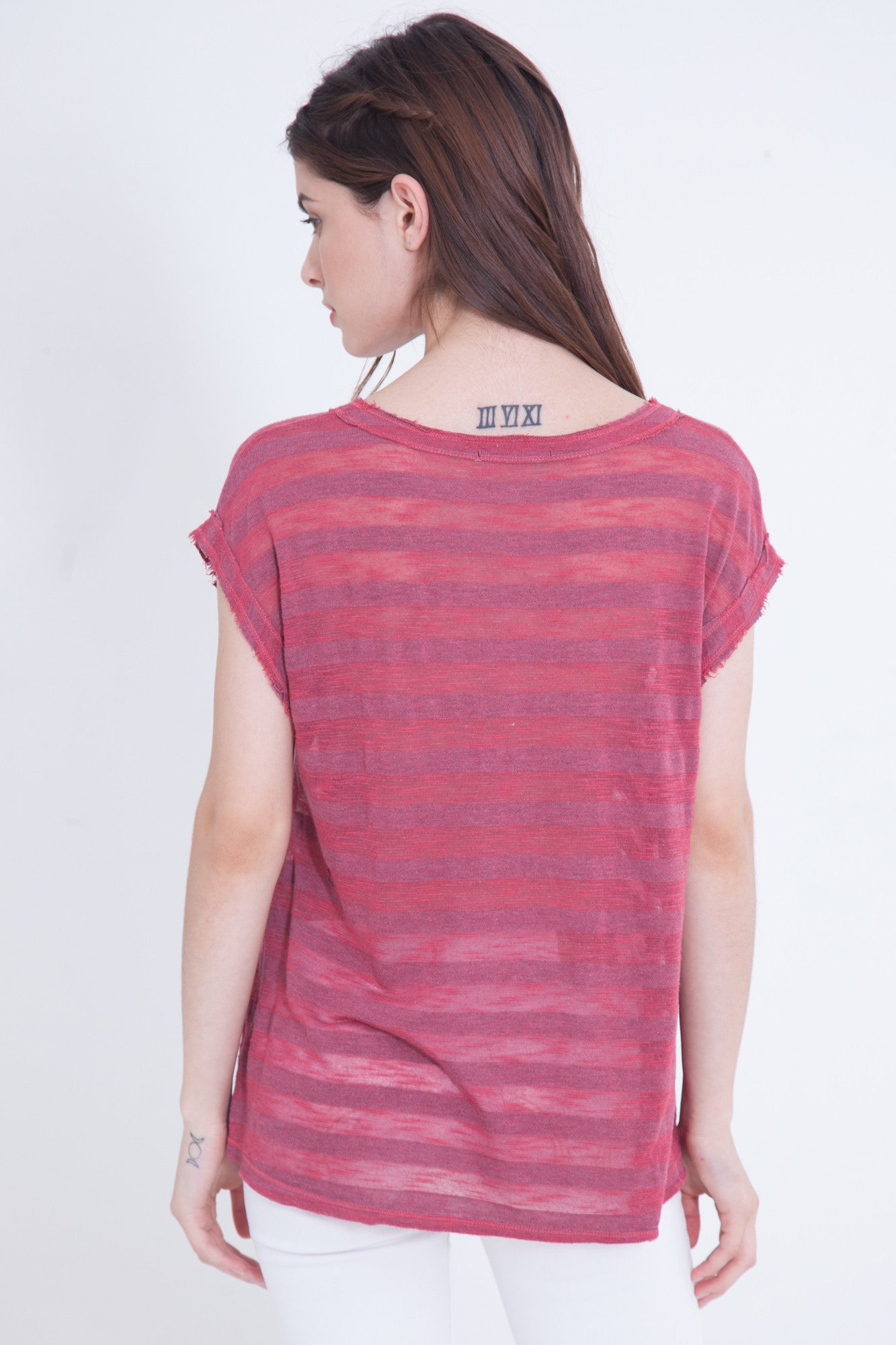Raspberry Slub Stripe Pocket Tee