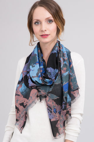 Hand Dyed Silk Blend Scarf in Royal Floral