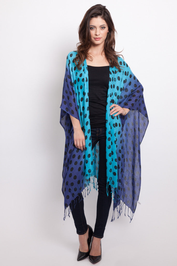 Polka Dot Convertible Scarf Poncho in Turquoise and Ink