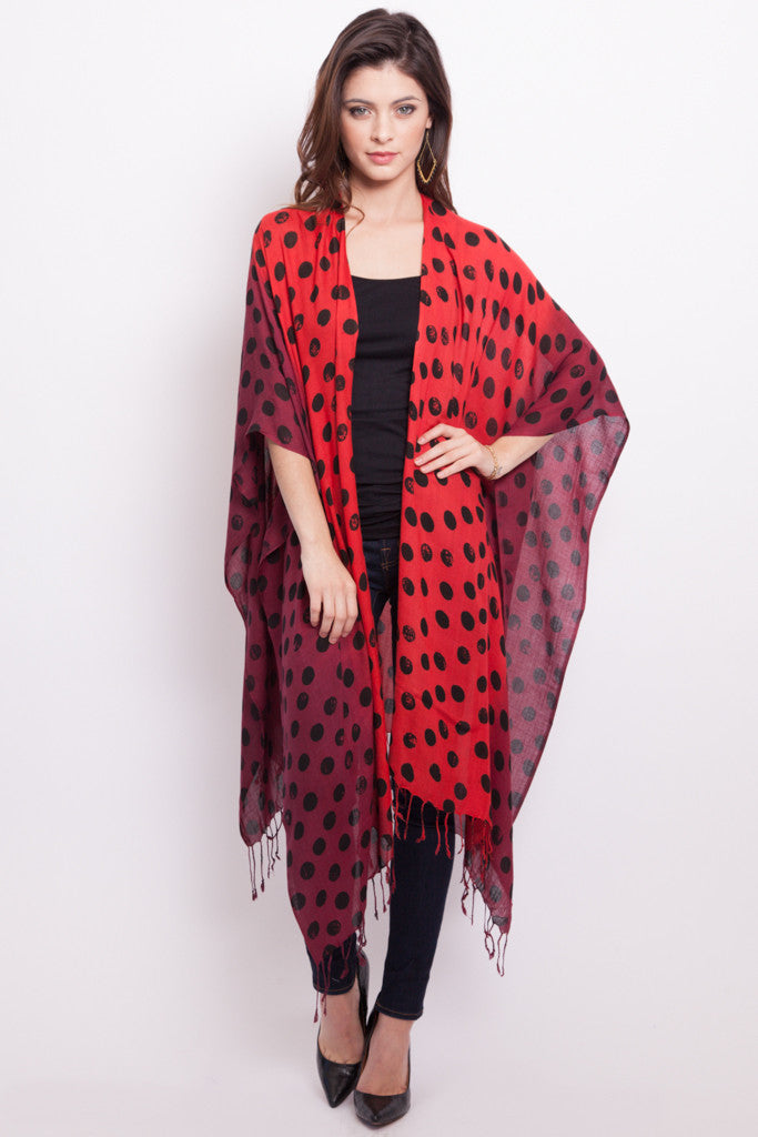 Polka Dot Convertible Scarf Poncho in Red