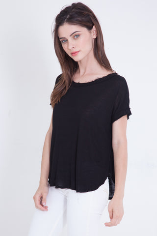 Black Slub Loose Tee
