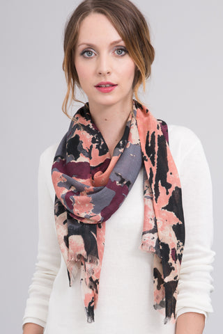 Hand Dyed Silk Blend Scarf in Bisque Floral