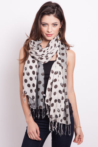 Polka Dot Scarf in White and Grey