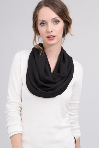Silk Modal Blend Infinity Scarf in Solid Black
