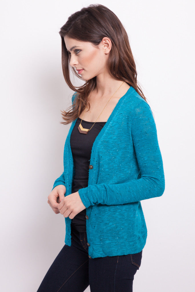 Turquoise Fitted Sweater Cardigan