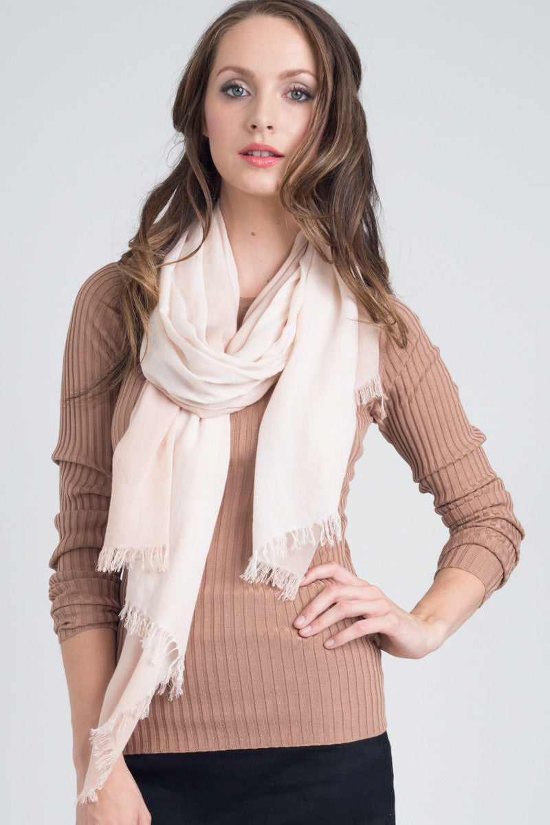 Hand Dyed Cashmere Modal Blend Scarf in Blush Ombre