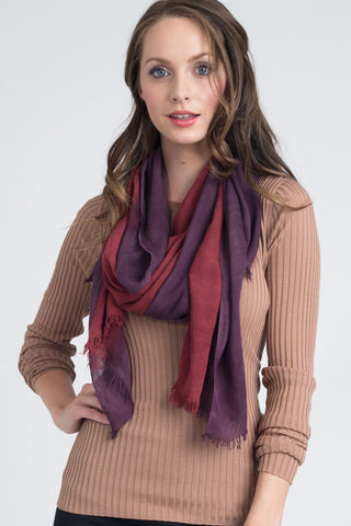Hand Dyed Silk Blend Scarf in Solid Cherrywood