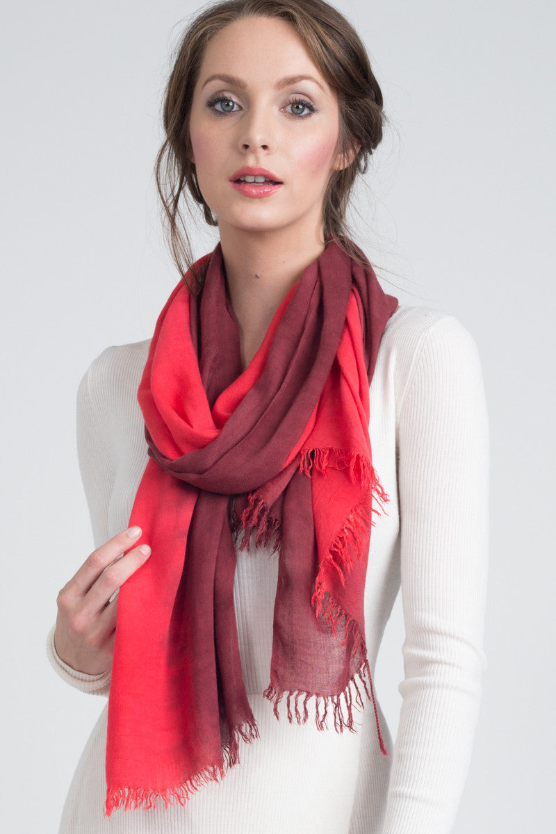 Hand Dyed Cashmere Modal Blend Scarf in Scarlet/Spice Ombre