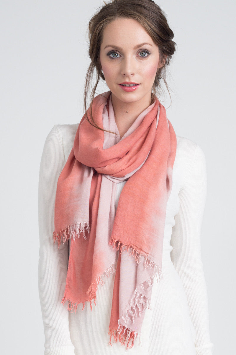 Hand Dyed Cashmere Modal Blend Scarf in Coral/Bisque