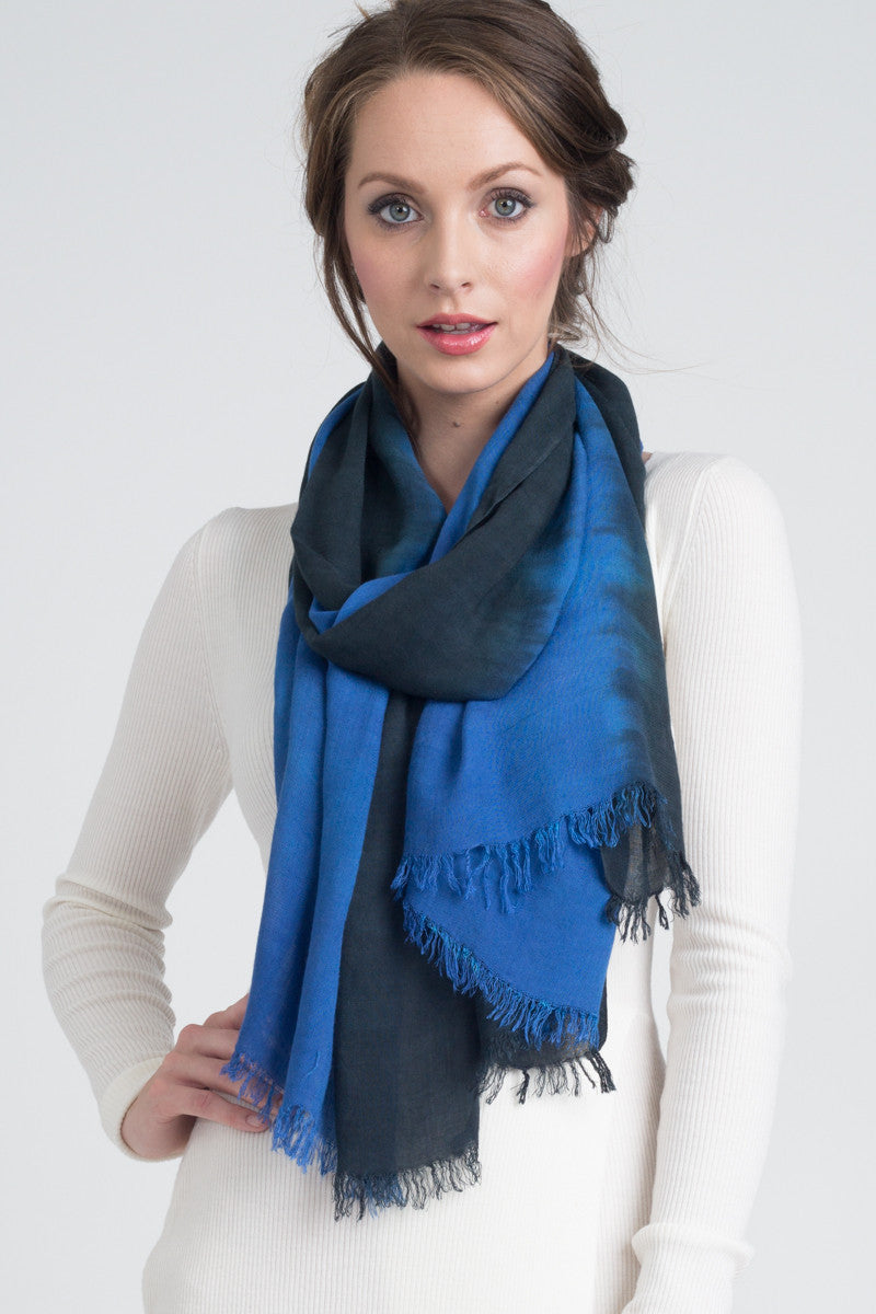 Hand Dyed Cashmere Modal Blend Scarf in Black/Royal Ombre