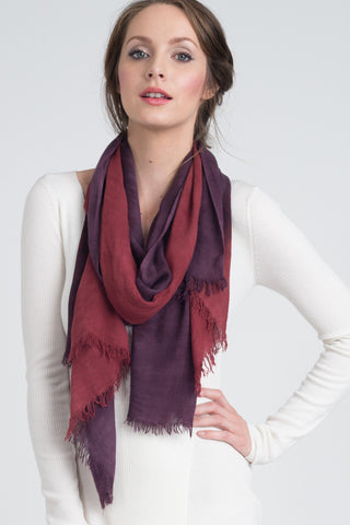 Hand Dyed Cashmere Modal Blend Scarf in Redwood Ombre