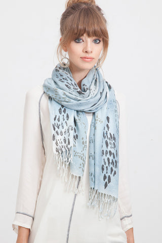 Animal Printed Dots Scarf in Pewter Blue