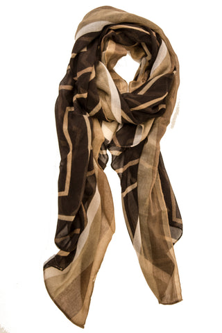 Geo Retro Stripe Scarf in Brown