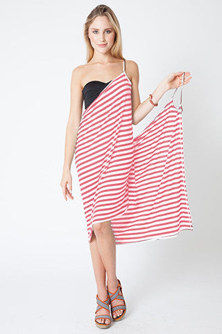 Convertible Beach Wrap Dress in Coral Stripe