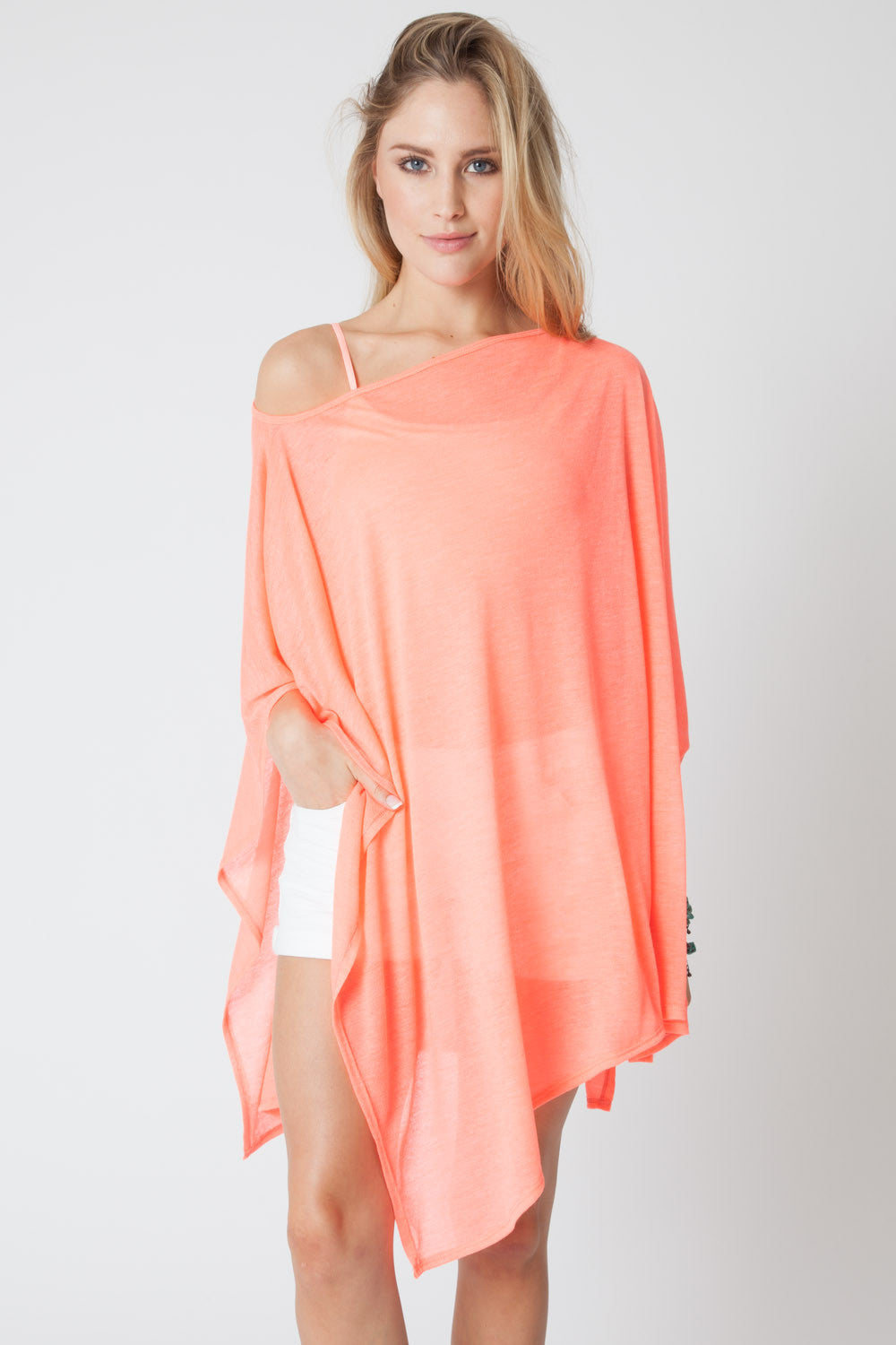 Convertible Poncho- Coral