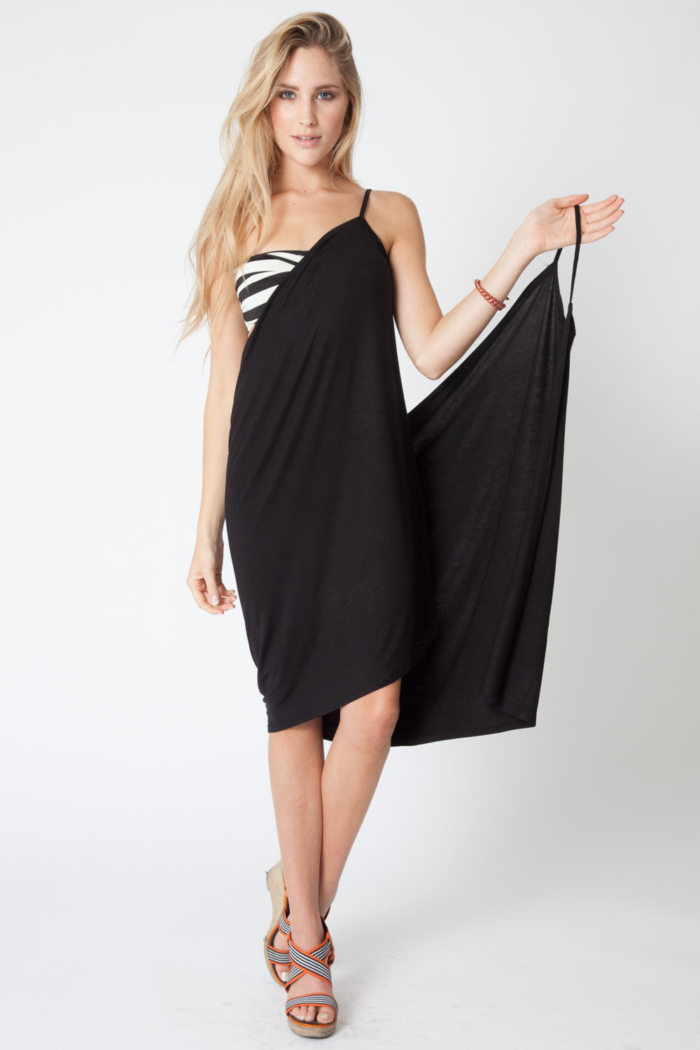 Convertible Beach Wrap Dress in Black
