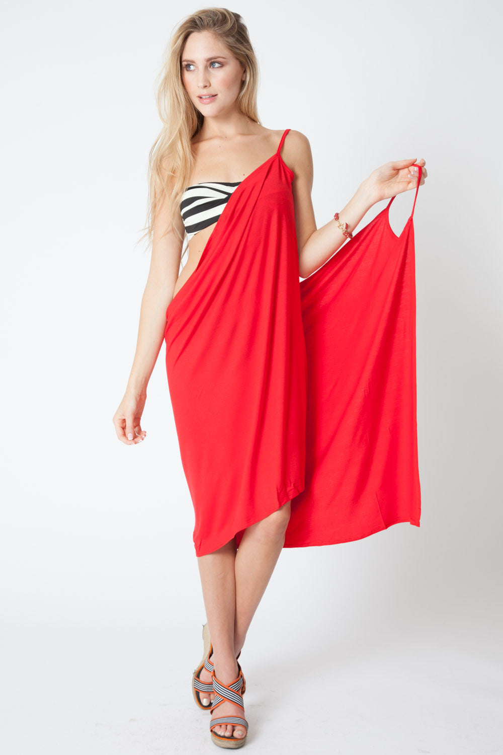 Convertible Beach Wrap Dress in Scarlet