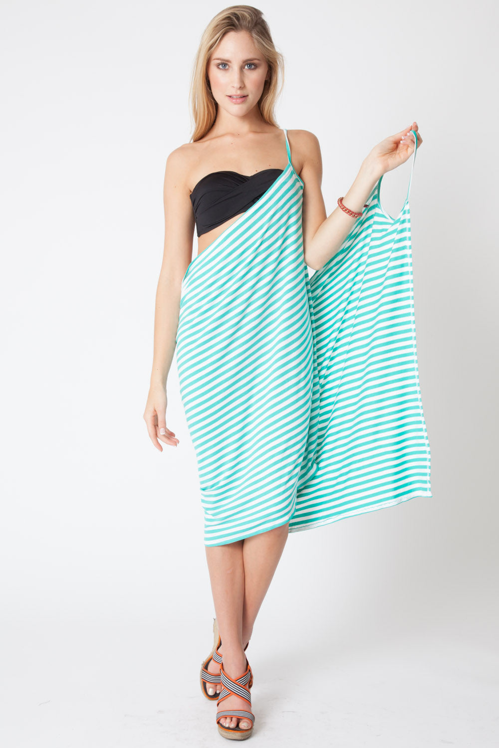 Convertible Beach Wrap Dress in Aqua Stripe