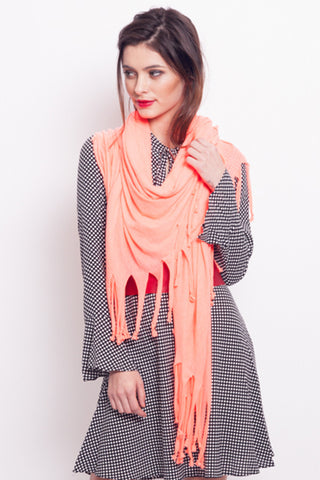 Blanket Scarf in Coral