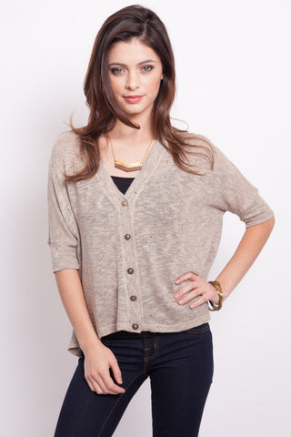 V-Neck Flutter Top in Mocha