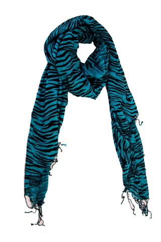 Cheetah Print Scarf in Jade