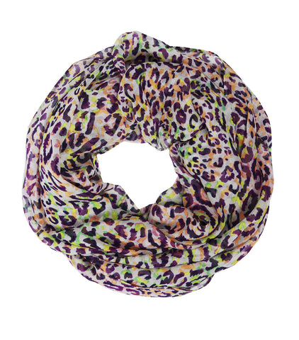 Infinity Scarf Silk Chiffon in Cheetah Multicolor