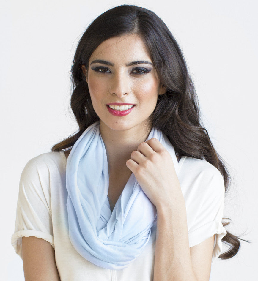 INFINITY SCARF CASHMERE JERSEY IN ICE BLUE