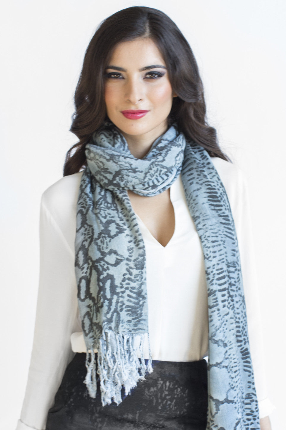 Snake Print Premium Quality Scarf in Pewter Blue