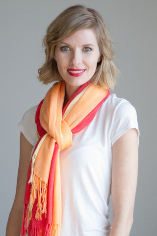 Ombre Gauze Scarf in Sunset Ombre