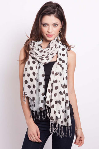 Polka Dot Scarf in Crimson