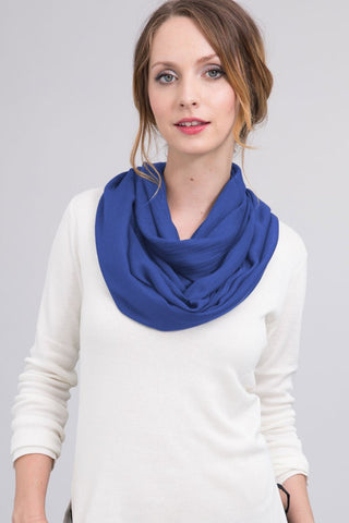 Hand Dyed Silk Blend Scarf in French Blue Ombre