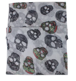 Sugar Skull Scarf in White