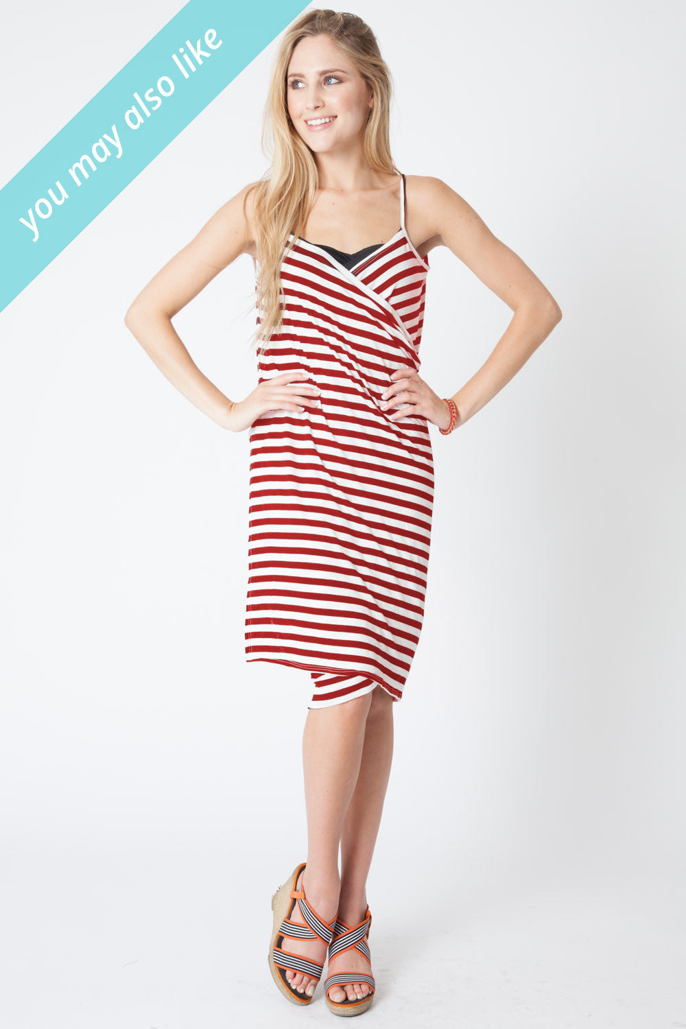 Convertible Beach Wrap Dress in Red Stripe