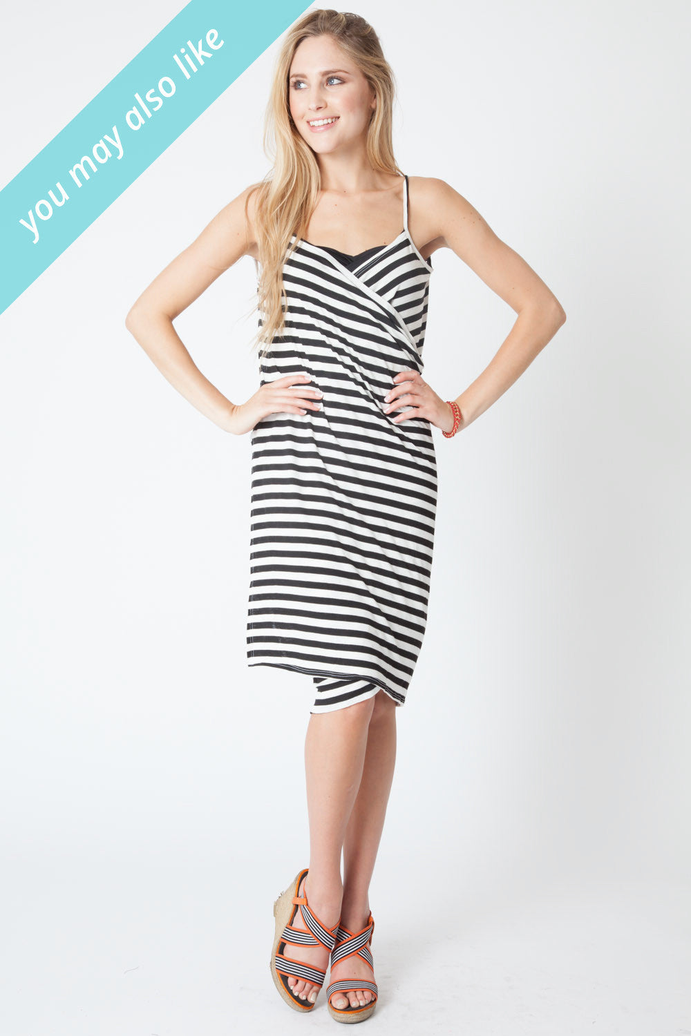 Convertible Beach Wrap Dress in Black and White Stripe