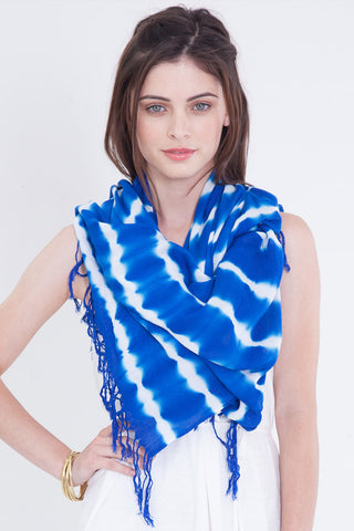 Hand Dyed Cashmere Modal Blend Scarf in Royal/Peacock Ombre