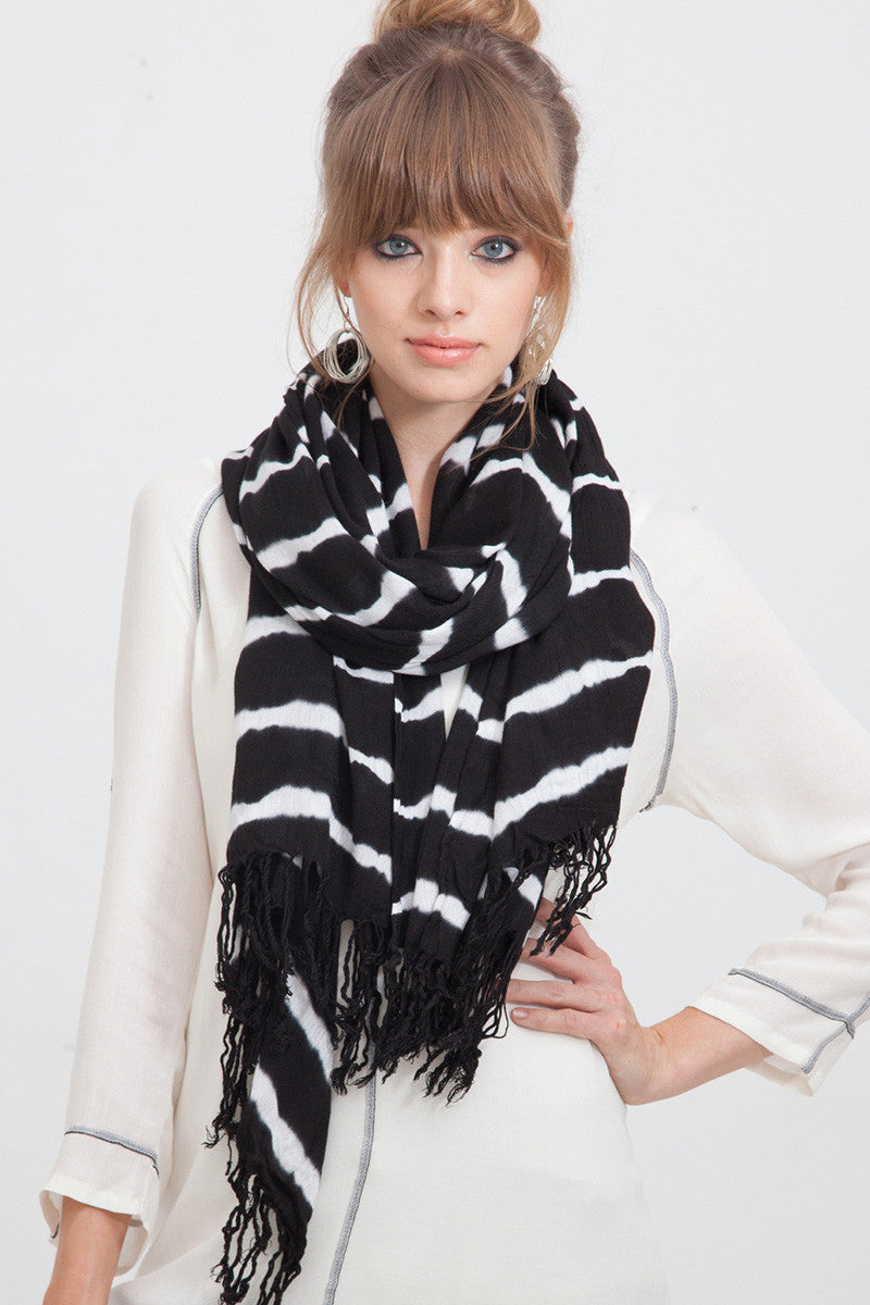 Tie Dye Stripe Scarf in Black