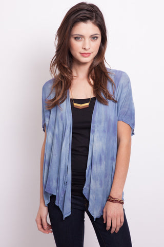 Pocket Cardigan with Chiffon Back in Teal