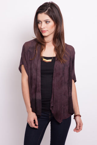 Raisin bamboo Open Hi-Low Cardigan