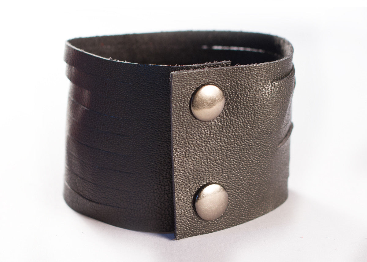 Slashed Leather Cuff in Black