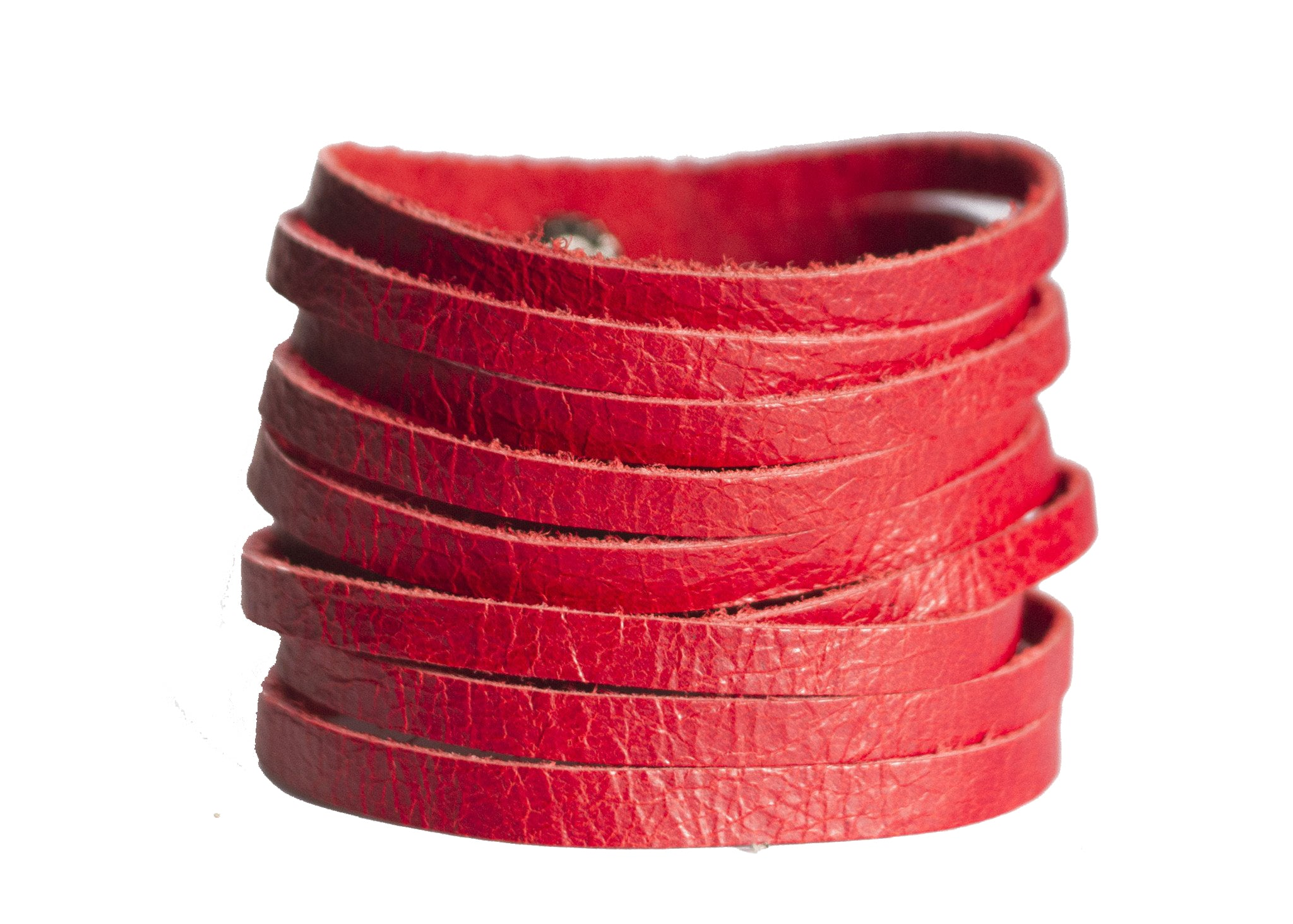 SLASHED LEATHER CUFF IN SCARLET