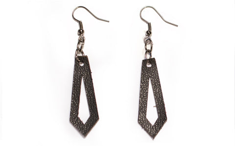 Black Leather Earring
