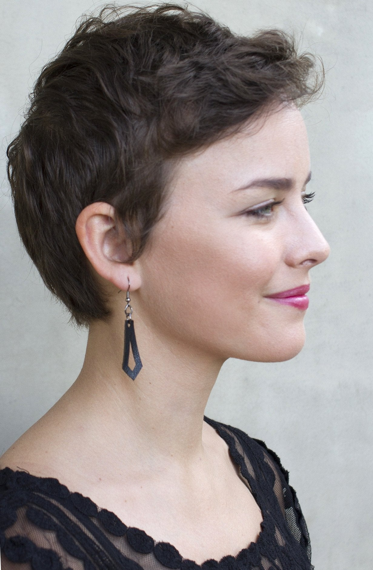 Zeyla Leather Jewelry Black Earring