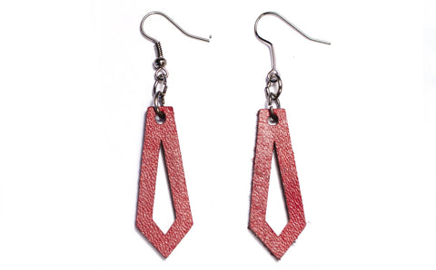 Scarlet Leather Earring